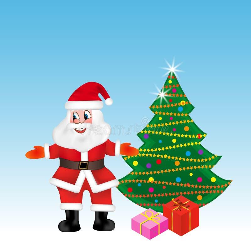 Święty Mikołaj stojaki blisko choinki w powitalnej pozie wektor ilustracji