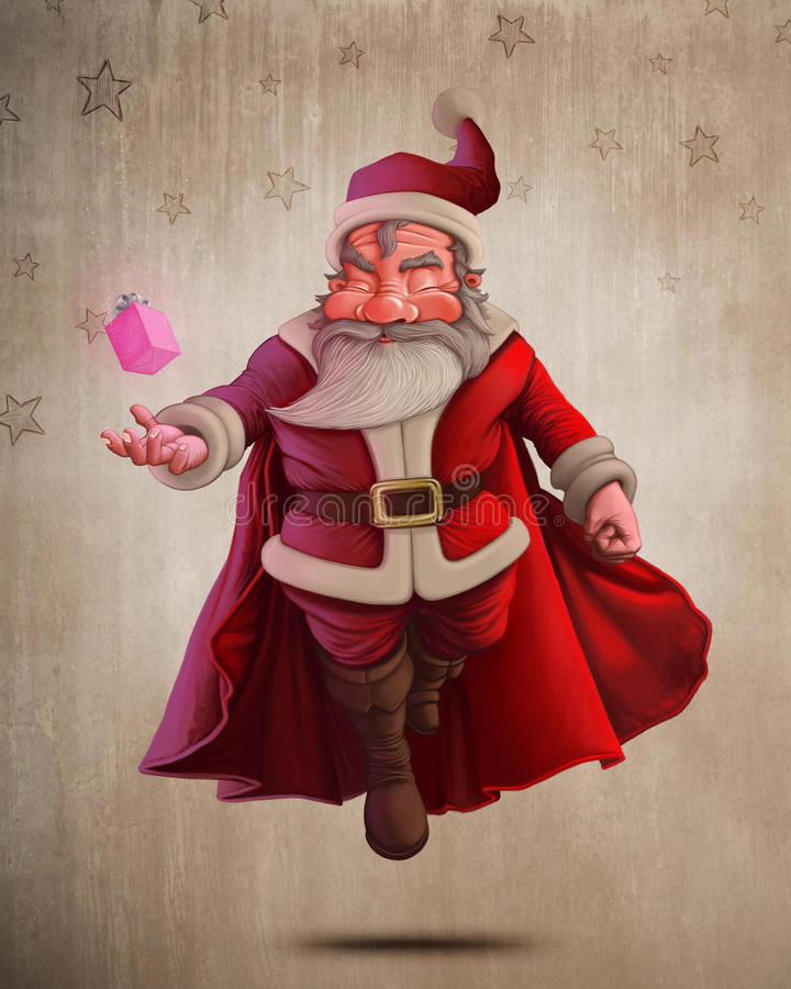 Święty Mikołaj Super bohater ilustracja wektor