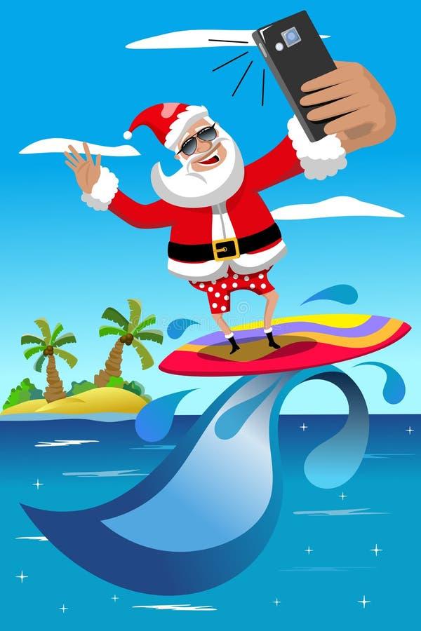 Święty Mikołaj surfingu selfie morza tropikalny wakacje ilustracja wektor