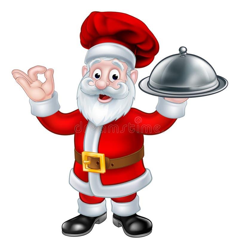 Święty Mikołaj szefa kuchni bożych narodzeń postać z kreskówki ilustracja wektor