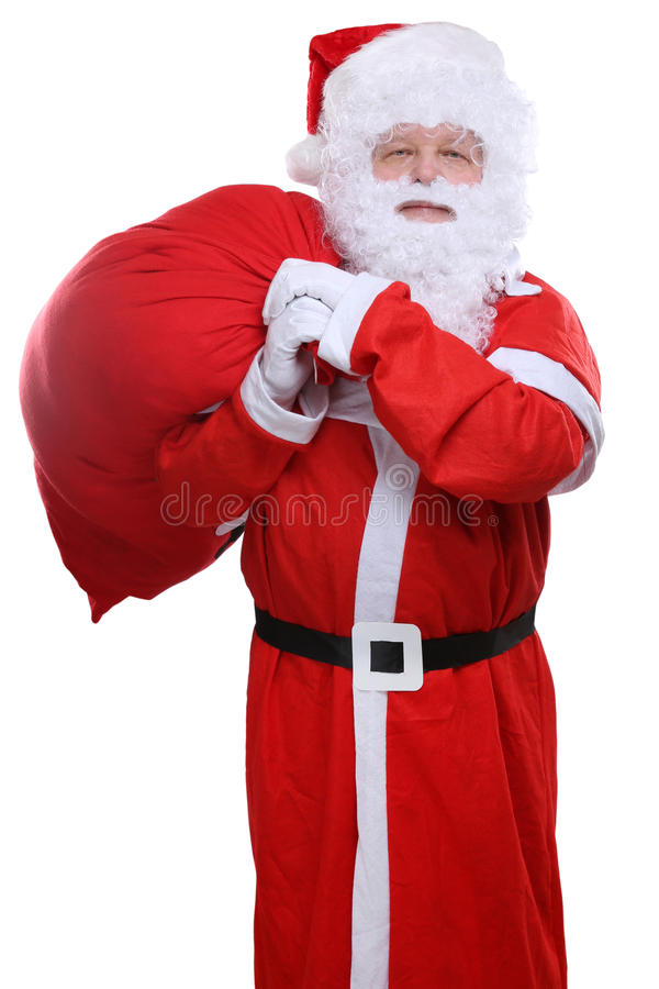 Święty Mikołaj torba na tylnych Bożenarodzeniowych prezentach odizolowywających na bielu fotografia stock