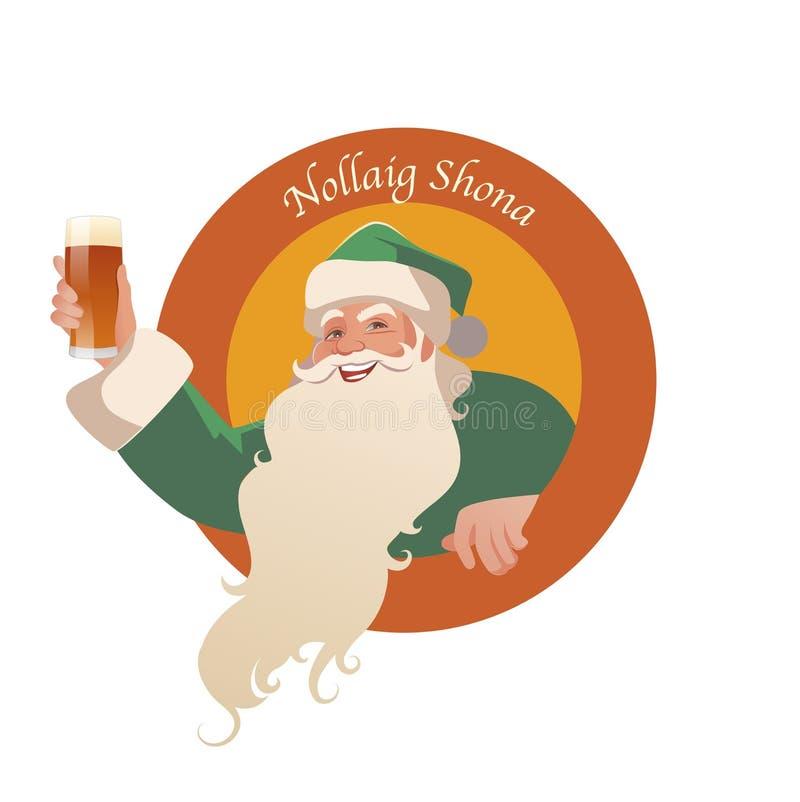 Święty Mikołaj trzyma szkło piwo royalty ilustracja