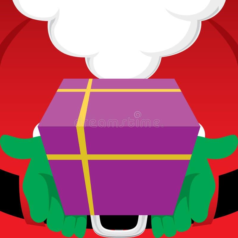 Święty Mikołaj trzyma zawijającego Bożenarodzeniowego prezent royalty ilustracja