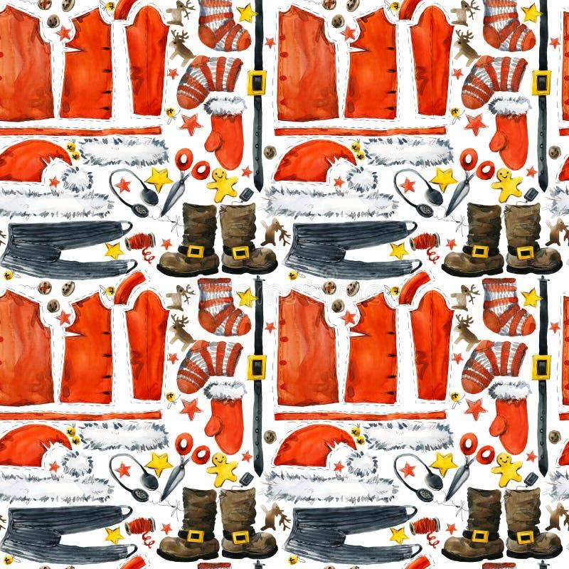 Święty Mikołaj ubraniowej akwareli bezszwowy wzór ilustracji