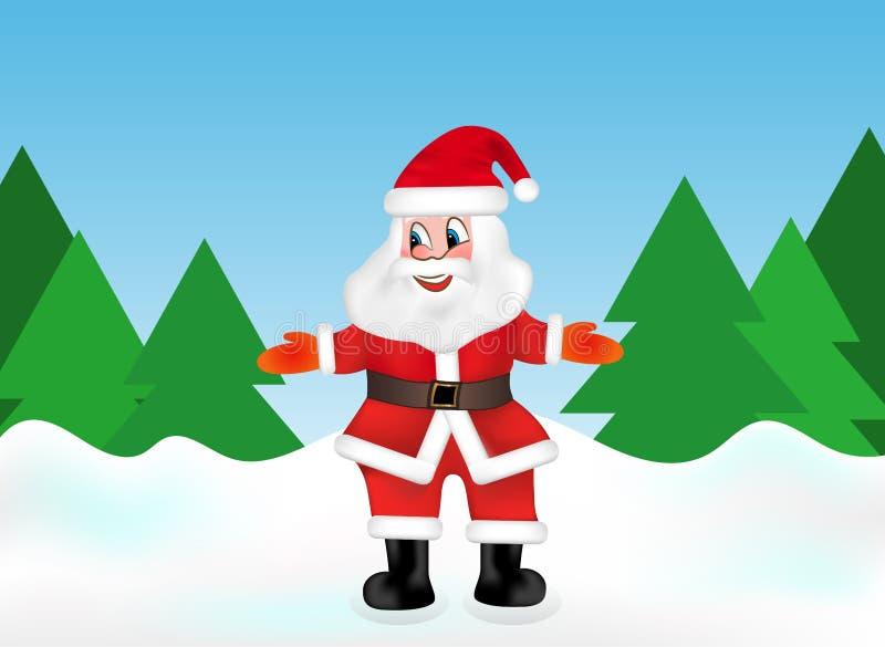 Święty Mikołaj w śnieżnym lesie na tle choinek powitań goście wektor royalty ilustracja