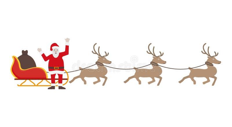 Święty Mikołaj w czerwieni sukni z saniem i reniferami royalty ilustracja