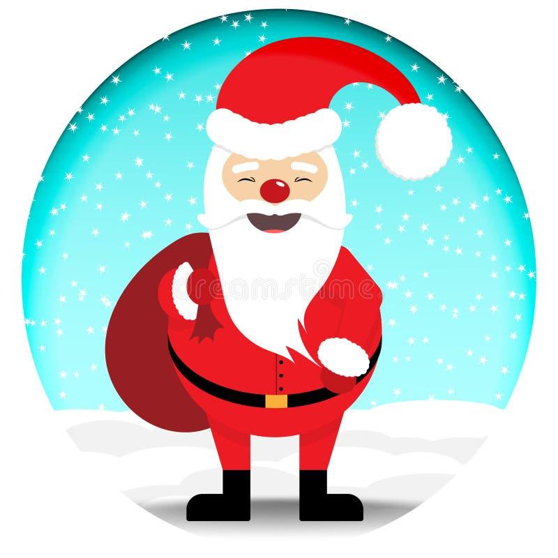 Święty Mikołaj w czerwonym kostiumu z torbą pełno prezenty Przeciw tłu niebieskie niebo i spada śnieg ilustracji