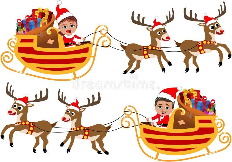 Święty Mikołaj w jego Bożenarodzeniowym saniu lub saniu ilustracji