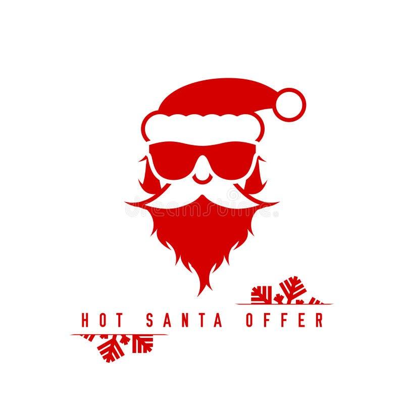Święty Mikołaj w okularach przeciwsłonecznych Gorący Santa oferty szablon r?wnie? zwr?ci? corel ilustracji wektora ilustracja wektor