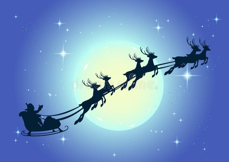 Święty Mikołaj w sania i renifera saniu na tle księżyc w pełni w nocnych nieb bożych narodzeniach royalty ilustracja