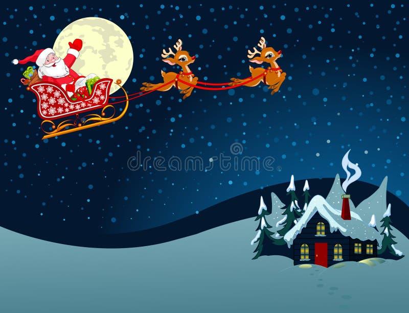 Święty Mikołaj w saniu royalty ilustracja