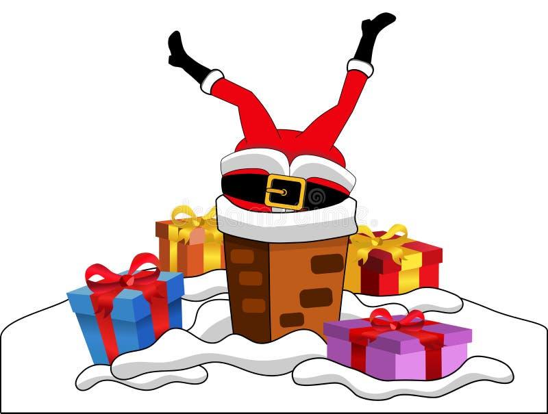 Święty Mikołaj Wtykał kominu Dachowego Xmas royalty ilustracja