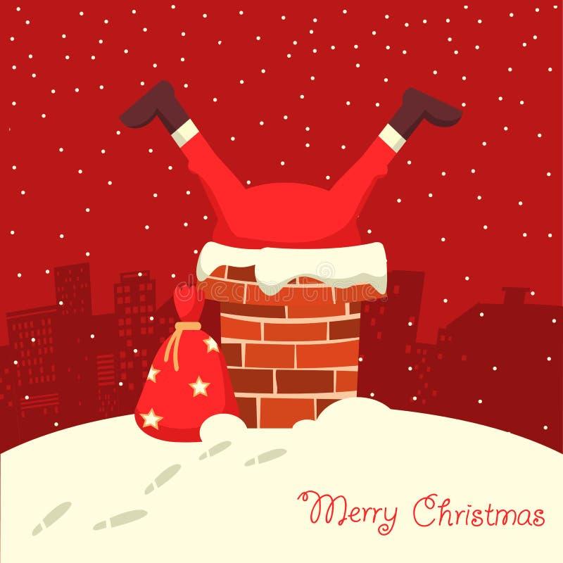 Święty Mikołaj wtykał w kominie w Bożenarodzeniowej nocy ilustracja wektor