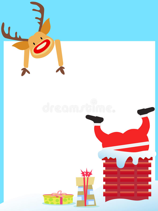 Święty Mikołaj wtykał w kominowej karcie ilustracji