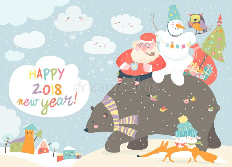 Święty Mikołaj z bałwan jazdą z tyłu życzliwego niedźwiedzia ilustracji