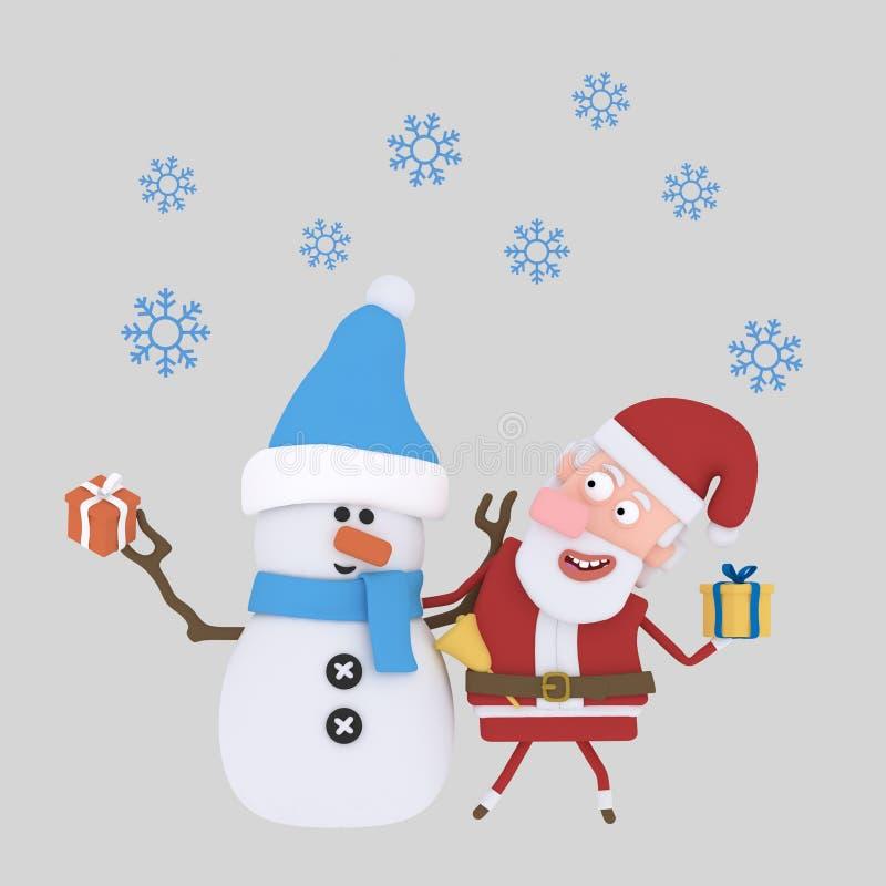 Święty Mikołaj z bałwanem 3d ilustracja wektor