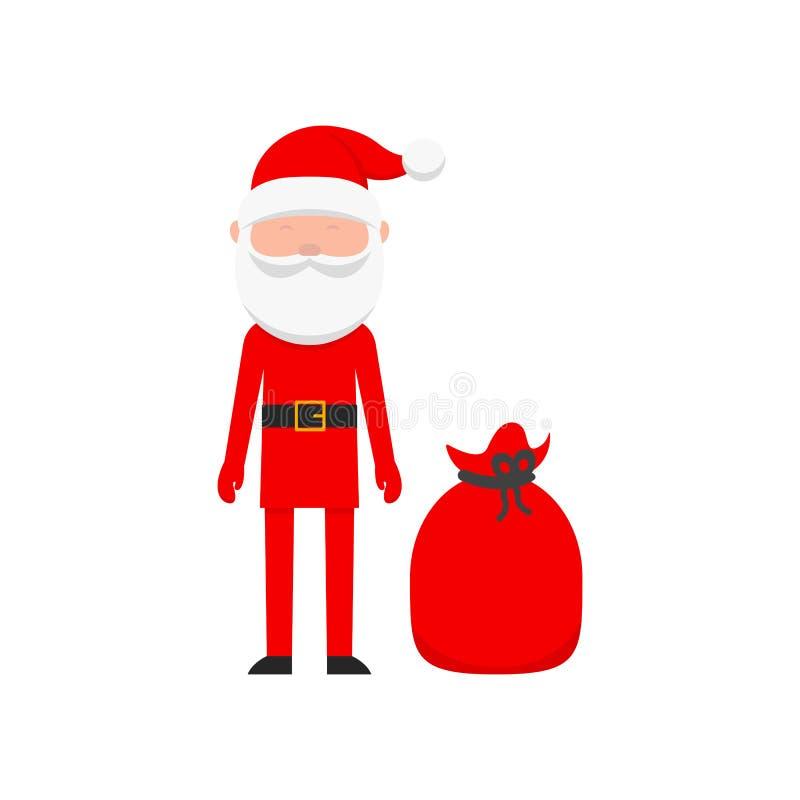 Święty Mikołaj z czerwoną torbą z prezentami royalty ilustracja
