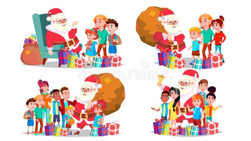 Święty Mikołaj Z dziecko Ustawiającym wektorem rozochoceni dzieci Grudzień wigilii odświętność Wesoło boże narodzenia i Szczęśliw ilustracji