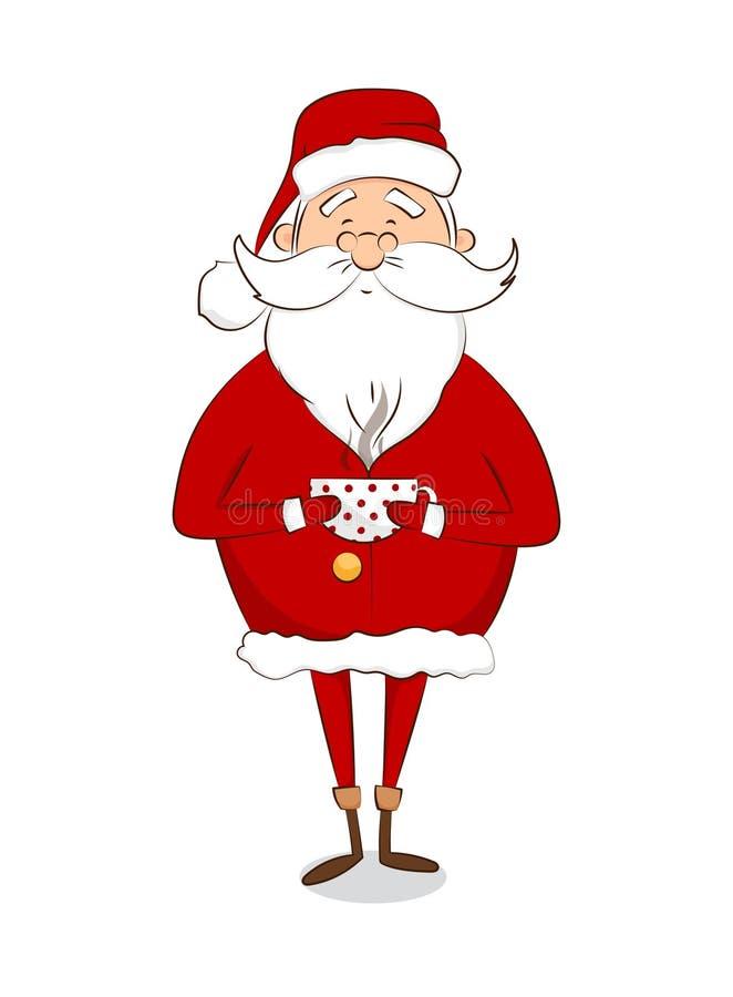 Święty Mikołaj z filiżanką kawy/herbata odizolowywająca na białym tle ilustracja wektor