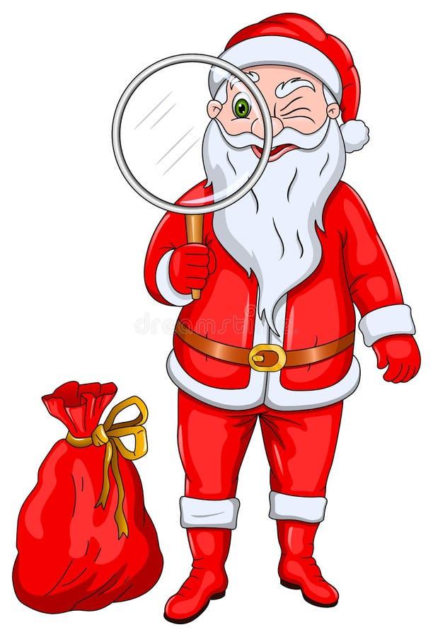 Święty Mikołaj z Powiększa szkło ilustracja wektor