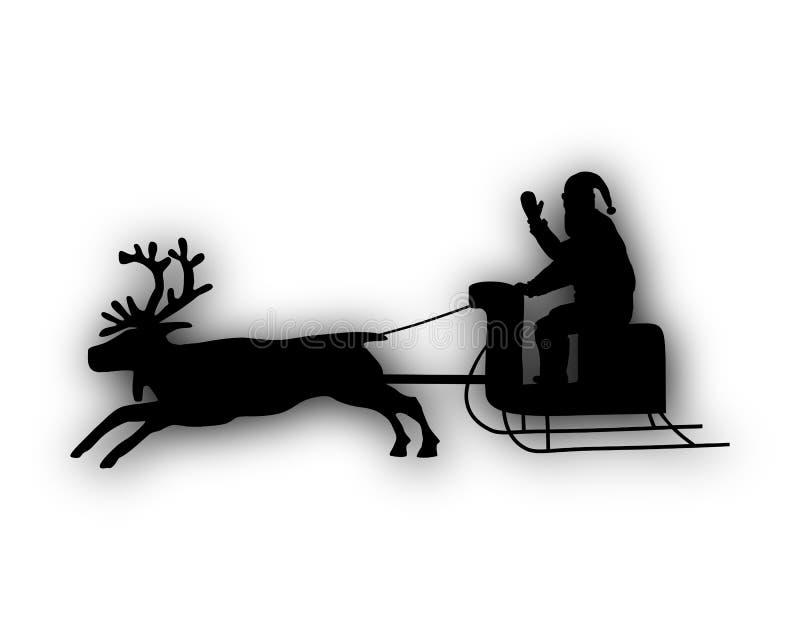 Święty Mikołaj z reniferem i saniem ilustracja wektor