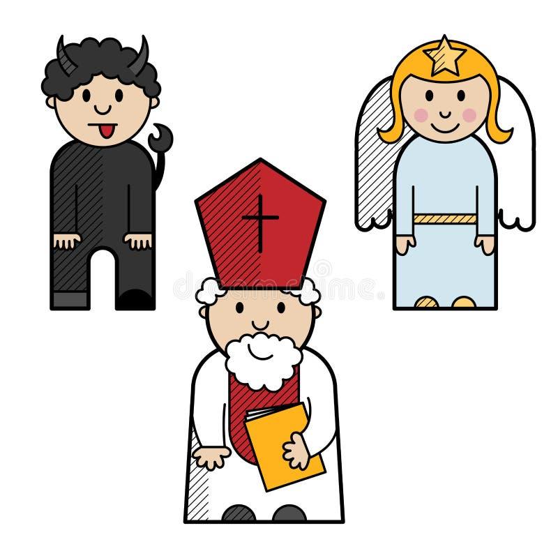 Święty Nicholas, anioł i diabeł, ilustracja wektor