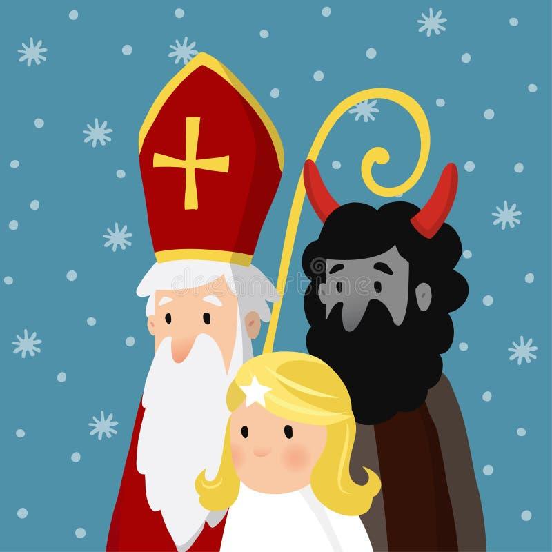 Święty Nicholas z anioła, czarciego i spadać śniegiem, Śliczna Bożenarodzeniowa zaproszenie karta, wektorowa ilustracja, zima ilustracji