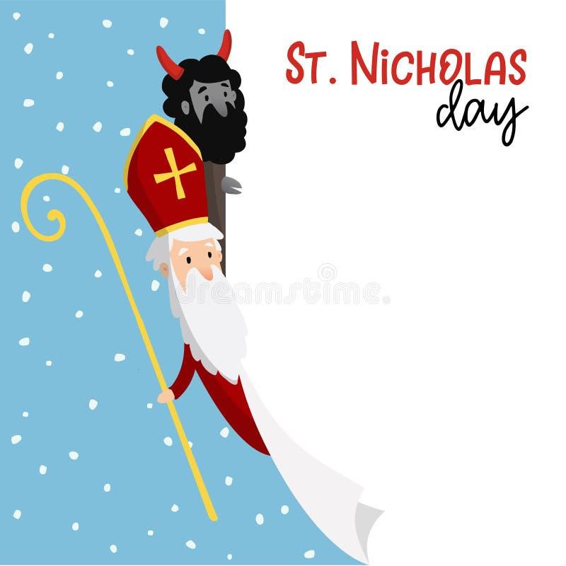 Święty Nicholas z diabłem i spada śniegiem Śliczna Bożenarodzeniowa zaproszenie karta, sieć sztandar z pustą listą papier wektor ilustracja wektor