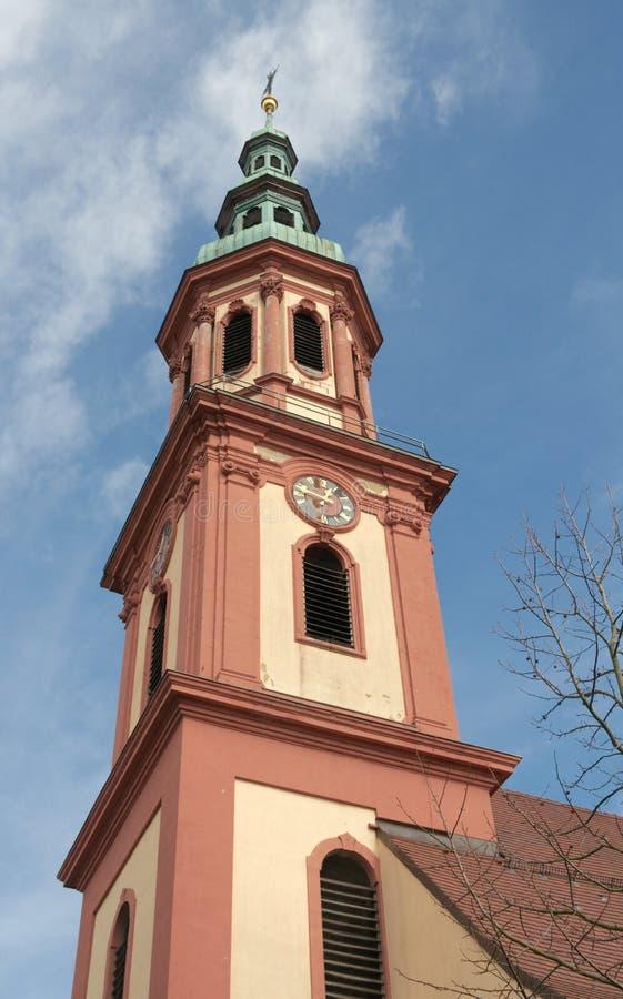 Święty Przecinający kościół, (1700) iglica Offenburg, Niemcy (,) zdjęcia royalty free