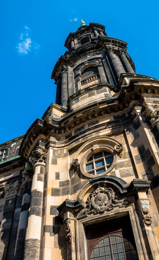 Święty Przecinający kościół lub Kreuzkirche w Drezdeńskim obrazy royalty free