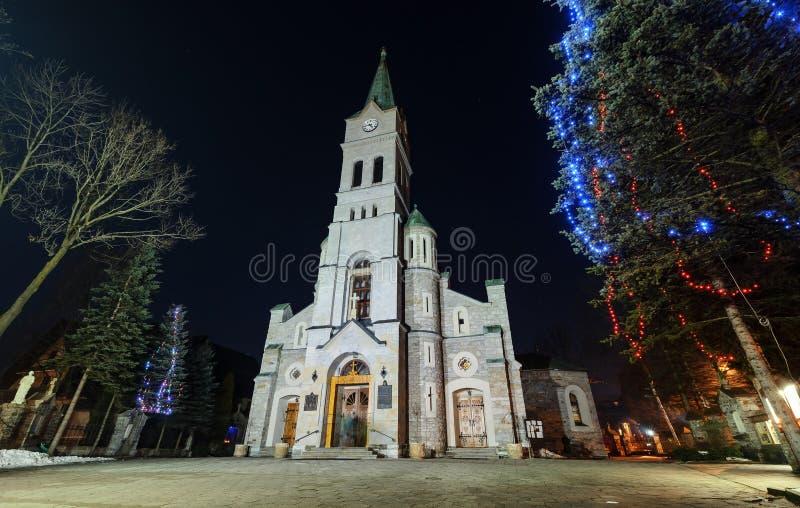 Święty Rodzinny kościół w Zakopane na zimnym Grudniu fotografia royalty free