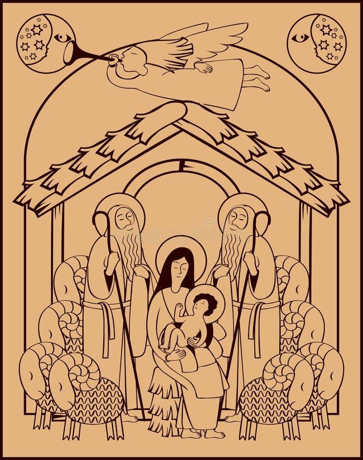 Święty rodziny i bożych narodzeń anioł royalty ilustracja