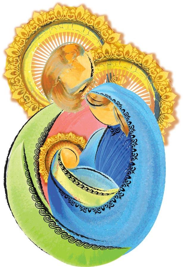 Święty rodziny Jezus Mary i Joseph artystyczny abstrakcjonistyczny narodzenie jezusa Chr obrazy stock