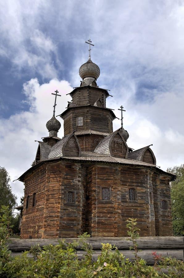 Święty transfiguracja kościół (Preobrazenskaya) muzeum suzdal architektury Rosji drewniane Suzd zdjęcie royalty free