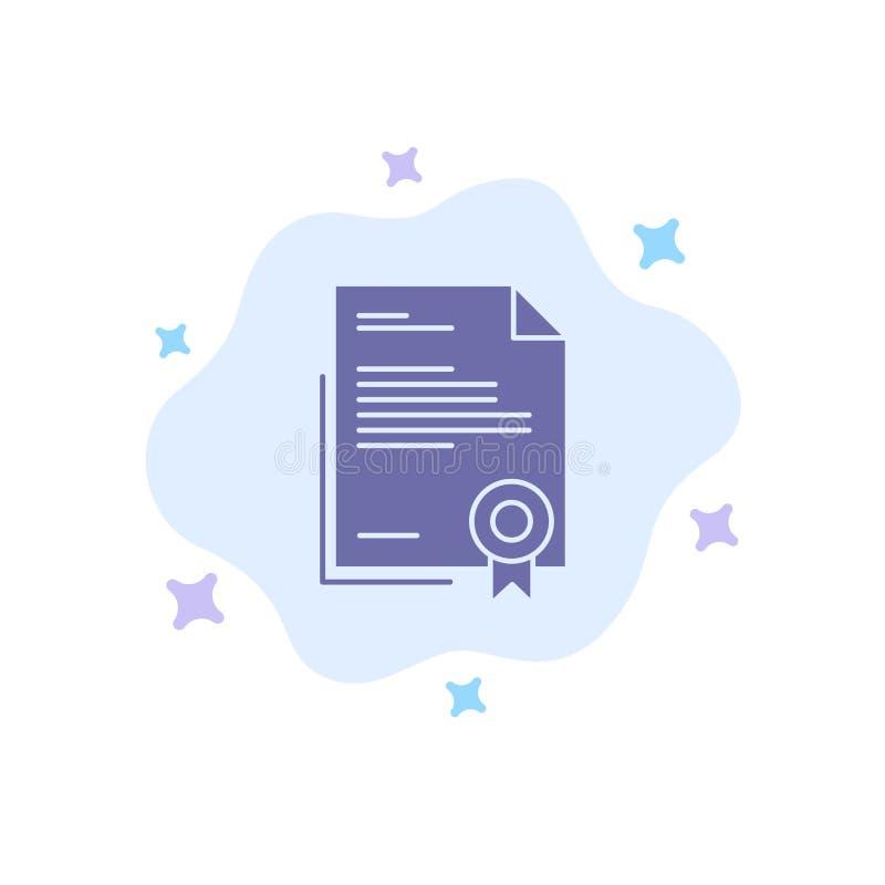 Świadectwo, biznes, dyplom, dokument prawny, list, Papierowa Błękitna ikona na abstrakt chmury tle ilustracja wektor