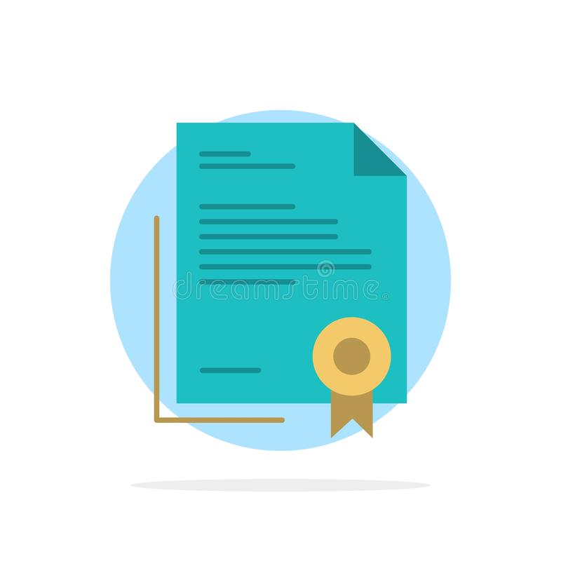 Świadectwo, biznes, dyplom, dokument prawny, list, Papierowego Abstrakcjonistycznego okręgu tła koloru Płaska ikona royalty ilustracja