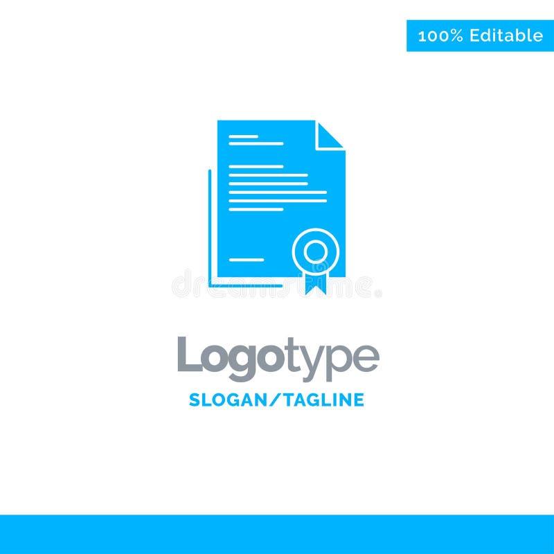 Świadectwo, biznes, dyplom, dokument prawny, list, Papierowy Błękitny Stały logo szablon Miejsce dla Tagline ilustracji