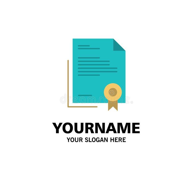 Świadectwo, biznes, dyplom, dokument prawny, list, Papierowy Biznesowy logo szablon p?aski kolor ilustracja wektor