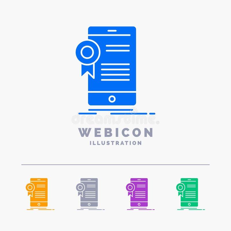 świadectwo, certyfikat, App, zastosowanie, zatwierdzenia 5 koloru glifu sieci ikony szablon odizolowywający na bielu r?wnie? zwr? ilustracja wektor