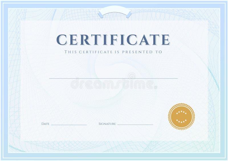 Świadectwo, dyplomu szablon. Nagroda wzór royalty ilustracja