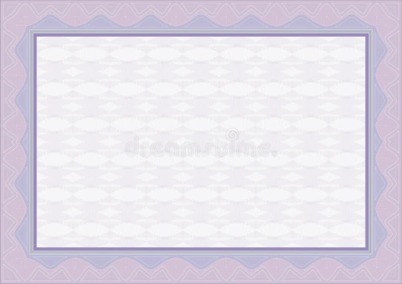 świadectwo graniczny dyplom guilloche royalty ilustracja
