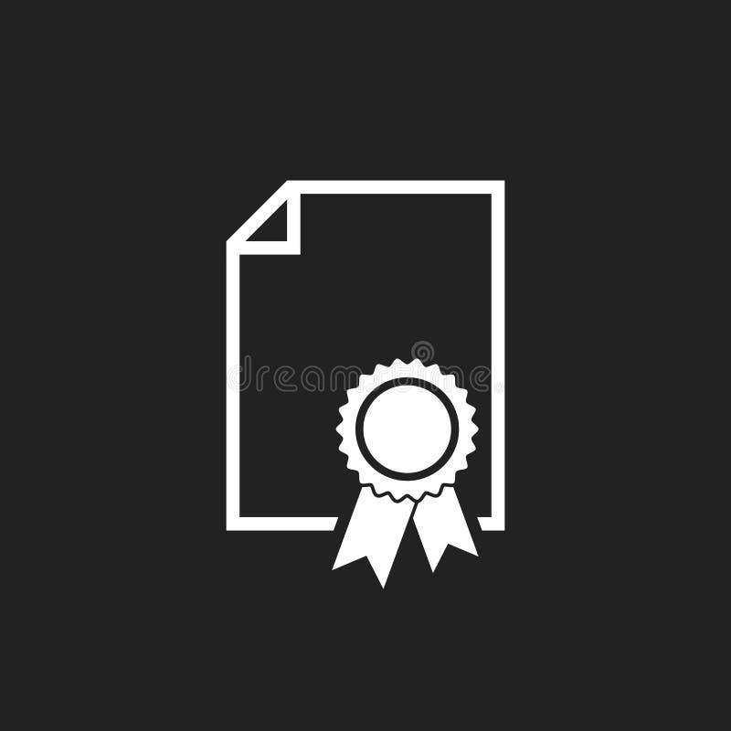 Świadectwo ikona Dyplomu symbol Płaska wektorowa ilustracja na bl ilustracja wektor