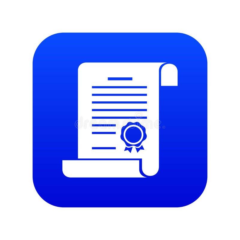 Świadectwo ikony błękita wektor ilustracji