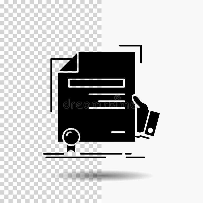 świadectwo, stopień, edukacja, nagroda, zgoda glifu ikona na Przejrzystym tle Czarna ikona royalty ilustracja