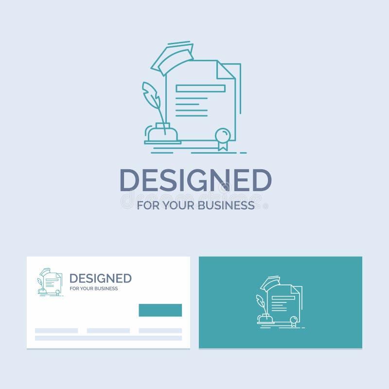 świadectwo, stopień, edukacja, nagroda, zgoda logo linii ikony Biznesowy symbol dla twój biznesu Turkusowe wizyt?wki z ilustracja wektor