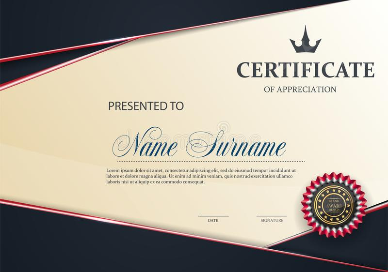 Świadectwo szablon z Luksusowym CZERWONYM eleganckim wzorem, dyplomu projekta skalowanie, nagroda, sukces royalty ilustracja