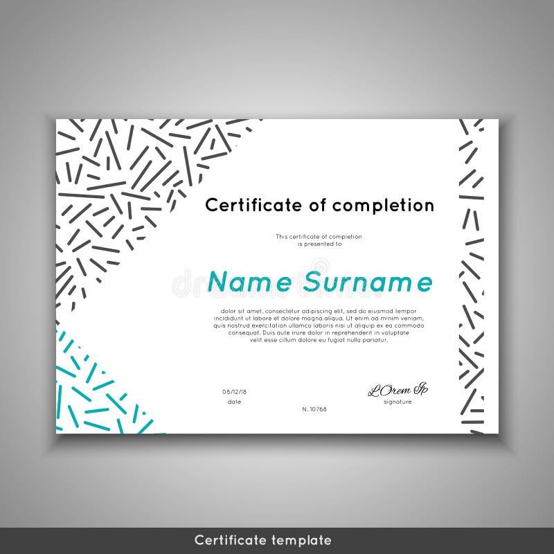 Świadectwo ukończenie, osiągnięcie, skalowanie, dyplom lub nagroda z kreskowym abstrakcjonistycznym tłem docenienia, ilustracja wektor