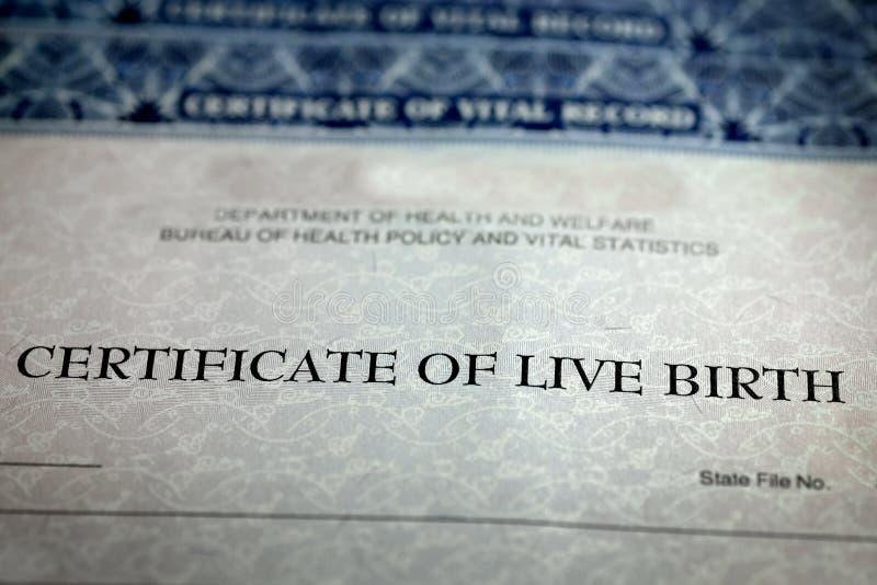 Świadectwo Urodzenia formy papieru Oficjalny dziecko Znoszący fotografia royalty free