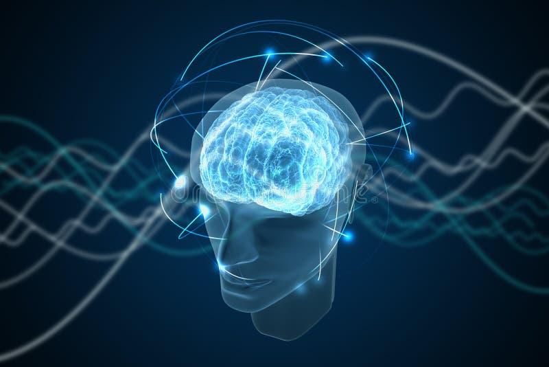 Świadomość, metafizyka lub sztucznej inteligenci pojęcie, Fala iść przez ludzkiej głowy ilustracja pozbawione 3 d royalty ilustracja