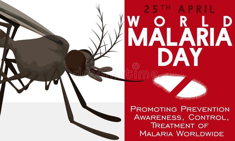 Świadomość projekt w Światowym malaria dniu z komarem i Plasmodium, Wektorowa ilustracja royalty ilustracja